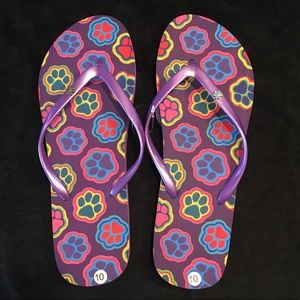 Shoes - Flip Flops with Paw Prints